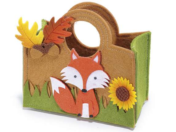 Cloth bag with acorns and fox