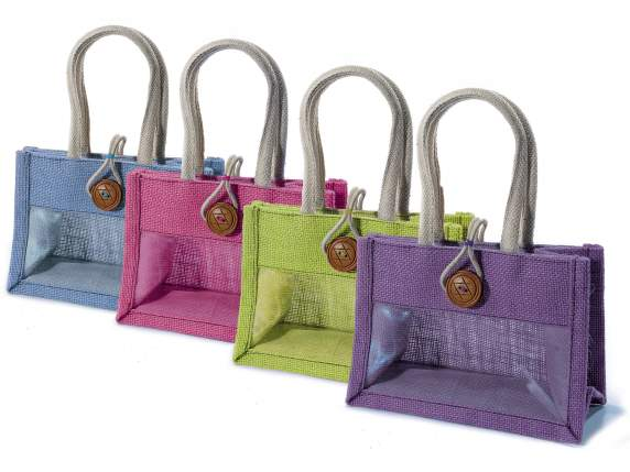 Bags in jute with transparent window and handle