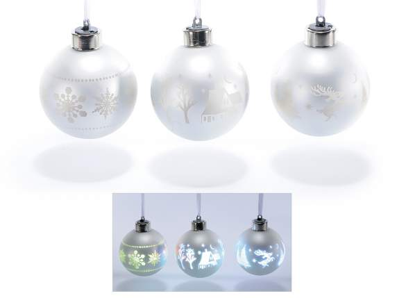 Xmas balls in white glass w-light