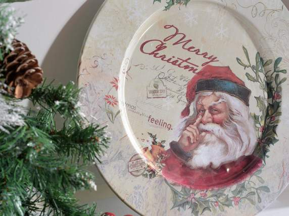 Plato de metal con decoracion Merry Christmas
