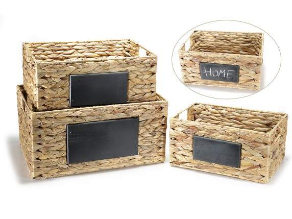 Set 3 natural material baskets w-blackboard