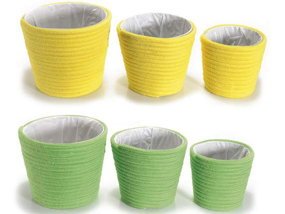 Set 3 decorative cotton baskets w-lining