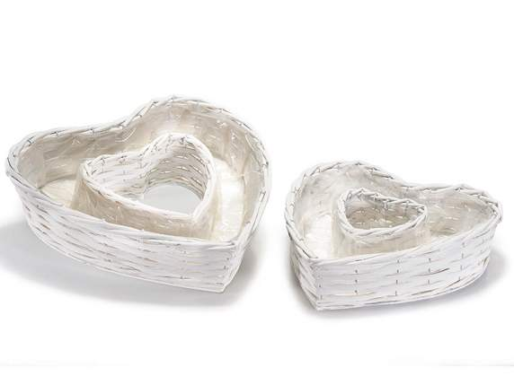 Set of 2 white rattan baskets heart shape