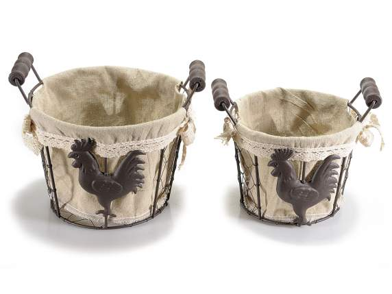 Set 2 metal wire baskets w-cloth linen