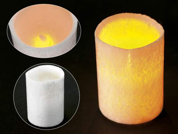 Cylindrical white candle on battery