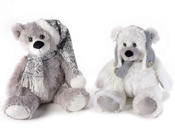Bear plush with scarf and hat