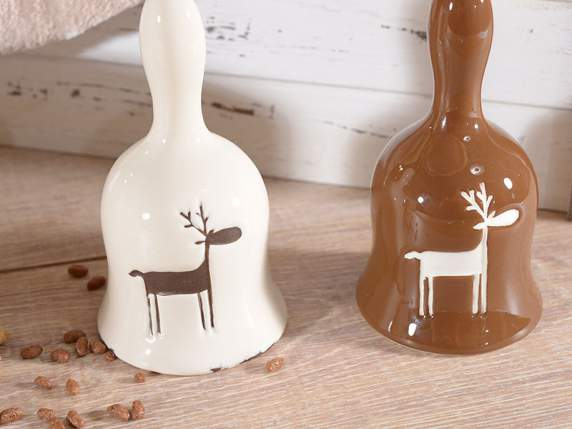 Ceramic bell with reindeer decoration