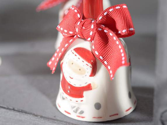 Ceramic bell w-Christmas decorations and ribbon
