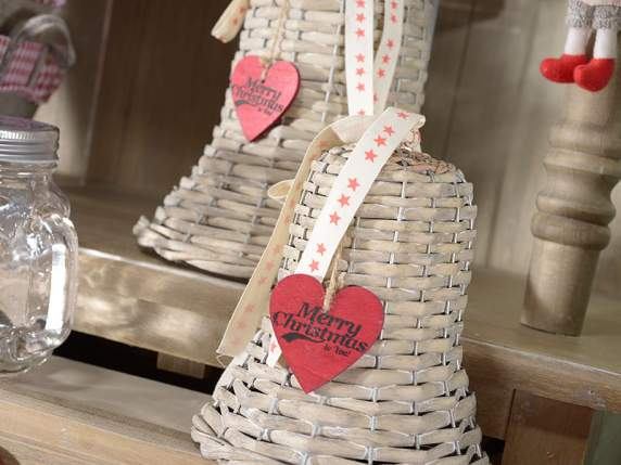 Set 3 rattan hanging bells with red heart and ribbon