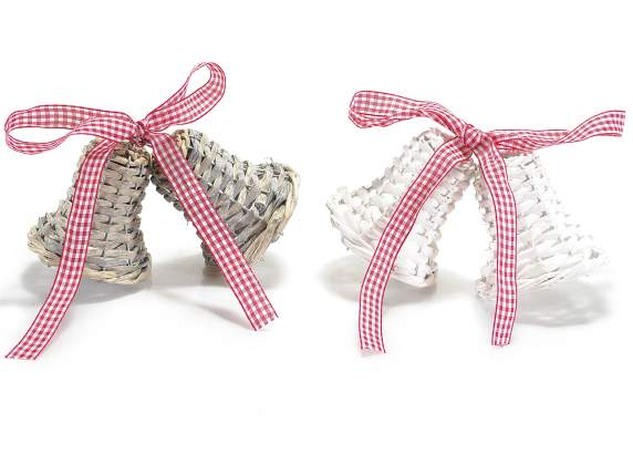Pair of wicker bells w-ribbon