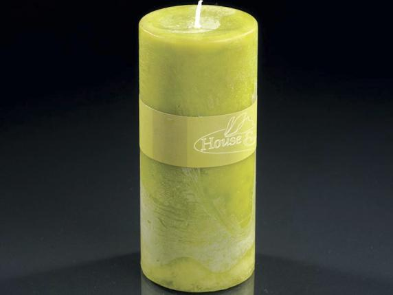 Big candle 6,7x14cm green color - burning time 70 hours