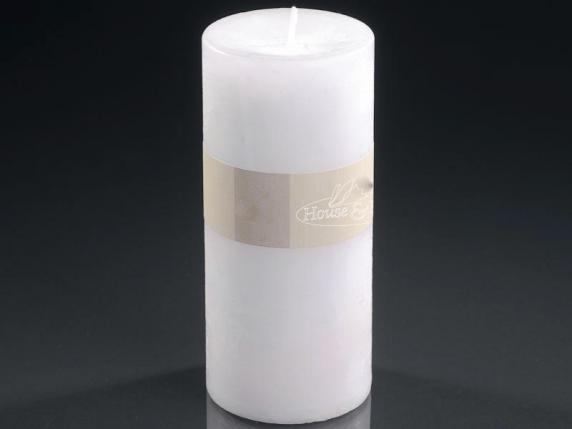 Big white candle 6,7x14cm - burning time 70 hours.