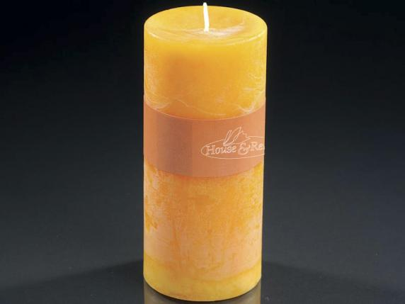 Big candle 6,7x14cm yellow color - burning time 70 hours