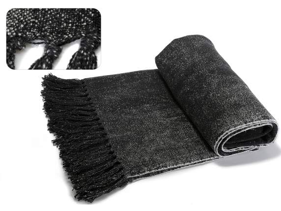 Black cotton and linen blankets with fringes