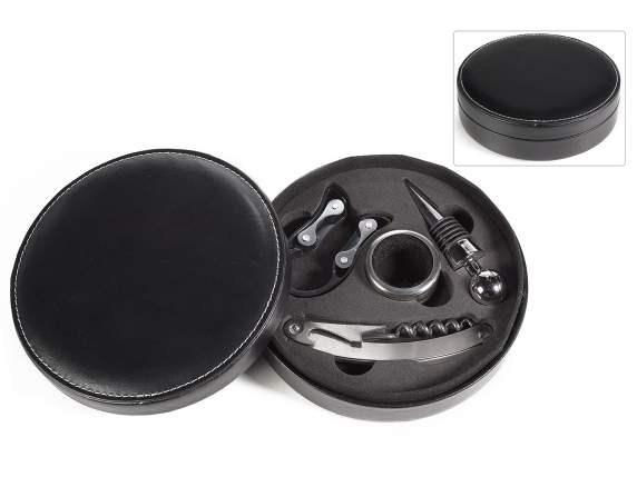 Black round box with sommelier set
