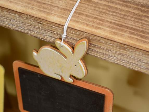 Hanging blackboard in wood w-bunny and gypsum
