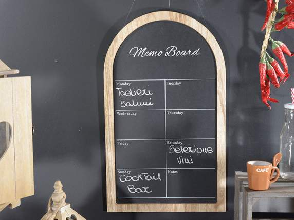 Hanging blackboard in wood for decorations