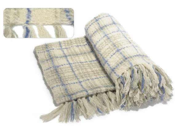 Blankets w-checkered pattern, blue weave and fringes