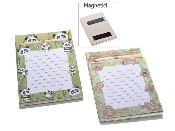 Block notes magnetico in carta con matita e calamita
