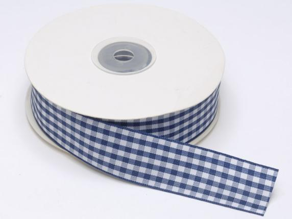 Checked ribbon 25mmx25mt blue