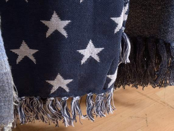 Blue cotton blankets with white star and fringes