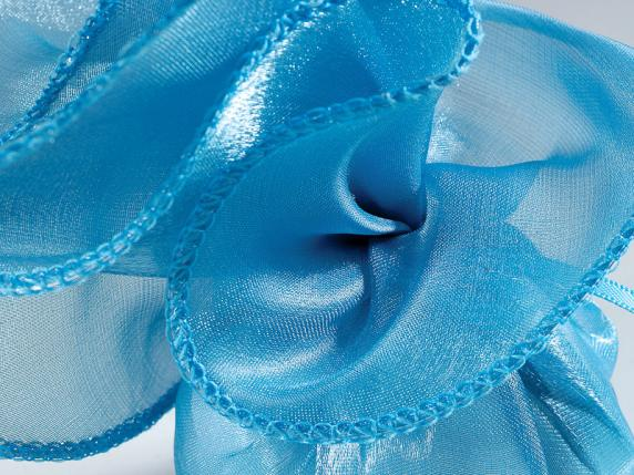Tul bordado de organza indian silk 25 x 25 cm azul