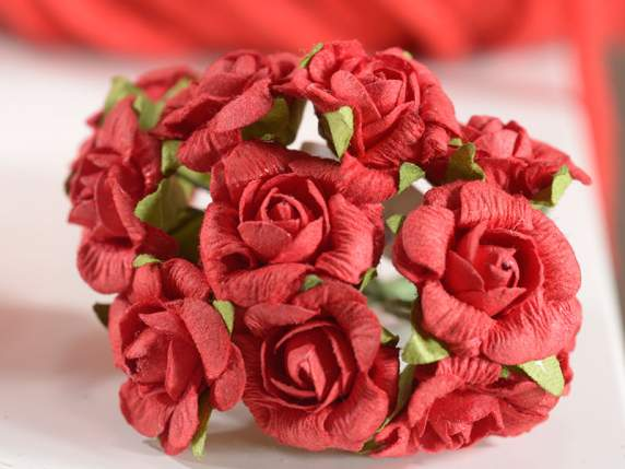 Artificial paper red craft rose