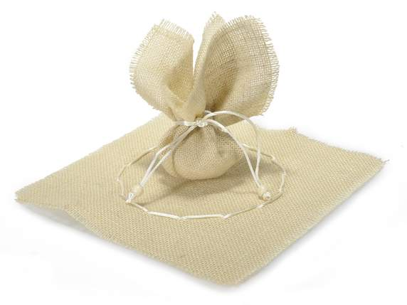 Ecru sachet with string in jute