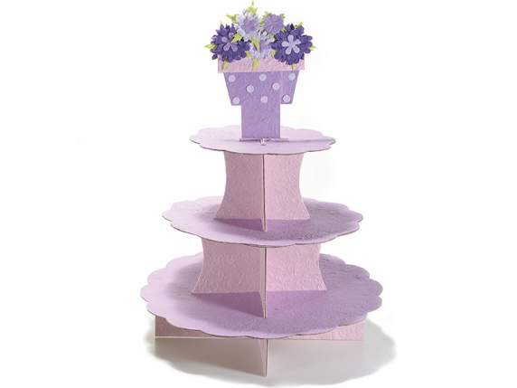 Lilac three levels tier bonbonniere holder in paper