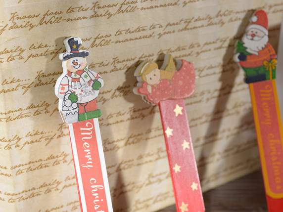 Christmas bookmark w-wooden subject