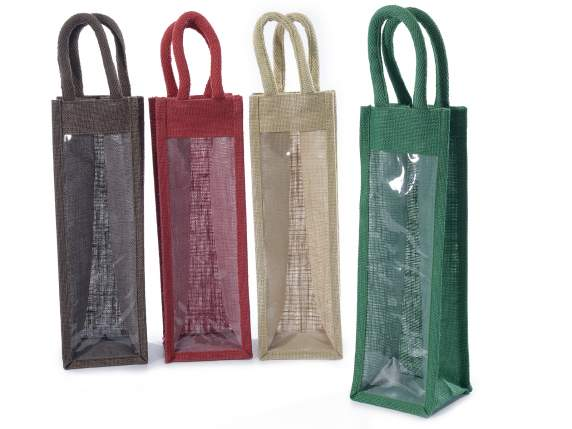 Bottle bags in jute with window and handles