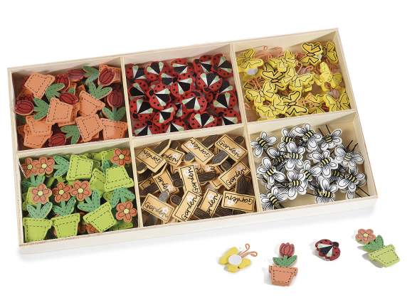 Box 144 colored wooden decoration w/ biadhesive