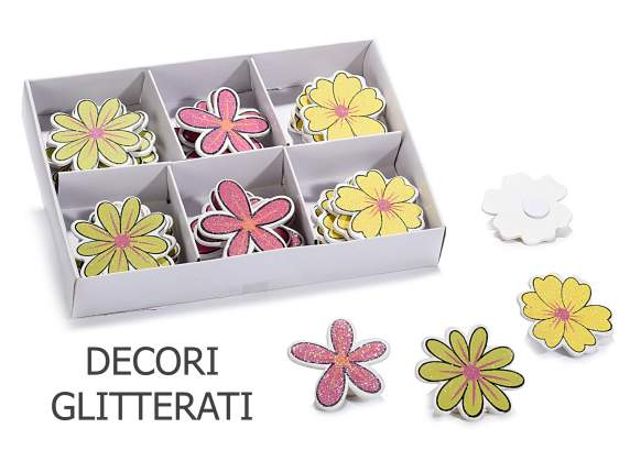 Box 36 wooden flowers with glitter and biadhesive