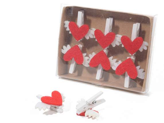 Box 6 clips with hearts and wings