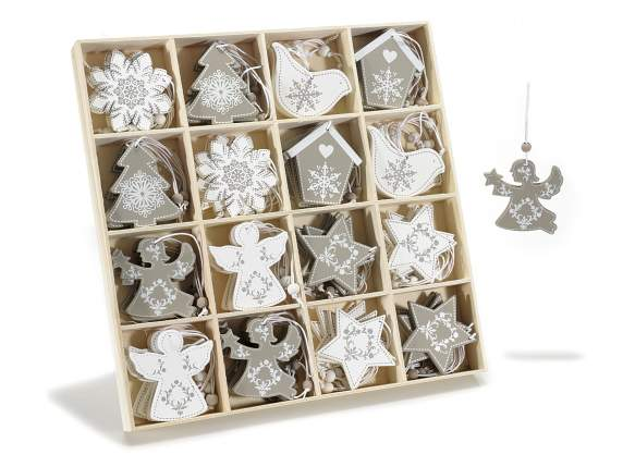 Box 64 white / grey wooden hanging decorations