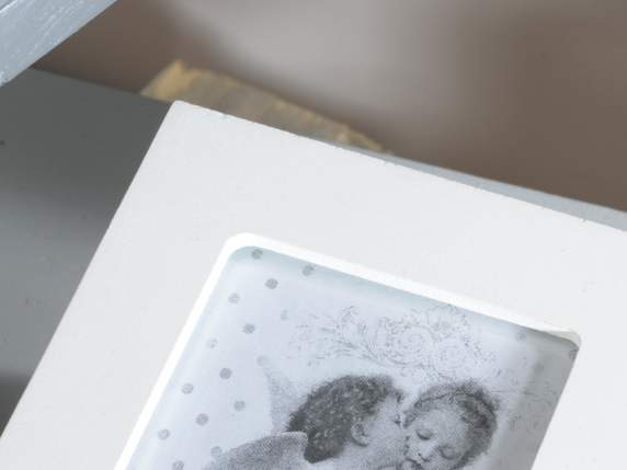 Box with photo frame lid and hanging heart