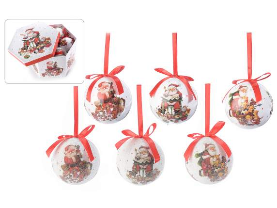 Box with 14 hanging balls with Santa Claus design