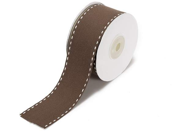 Brown cotton ribbons double stitching