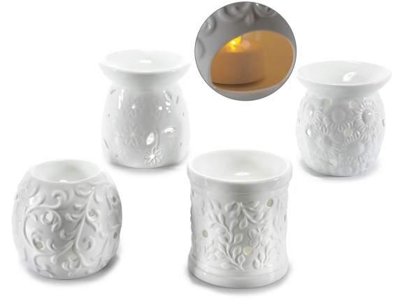 Brucia essenze in ceramica bianca con decori in rilievo for Brucia essenze ikea