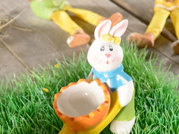 Ceramic Easter bunny egg holder w-garden cart