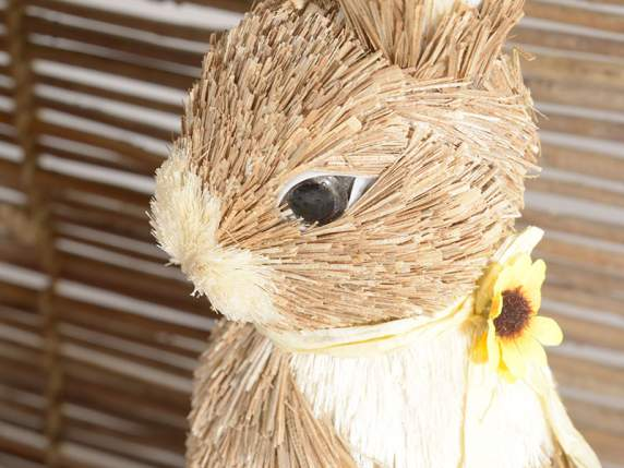 Sitting straw rabbit w-chick and sunflower