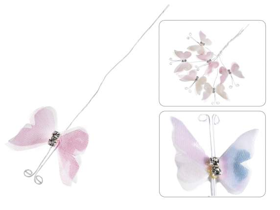 Butterfly in cloth with diamond and mouldable stem