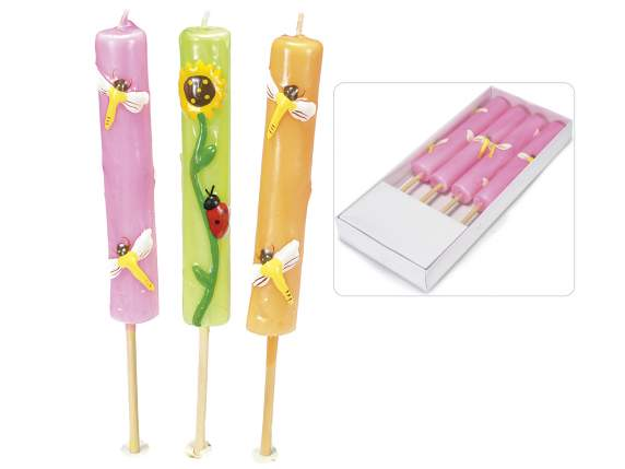 Scatola 4 candele stick decorate e al profumo di citronella