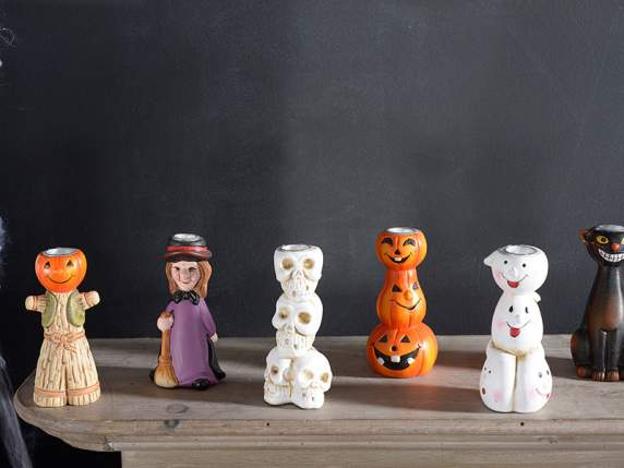 Pottery candle holders w-Halloween subjects
