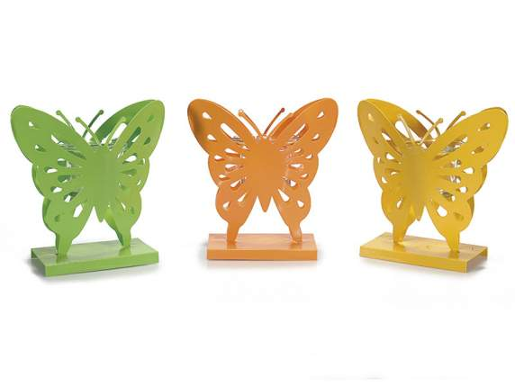 Butterfly shaped candle holder in metal