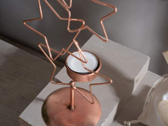 Copper metal candle holder shaped star