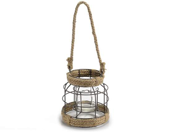 Hanging candle holder with glass jar and rope