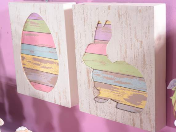 Wooden decorative block w-Easter figurines