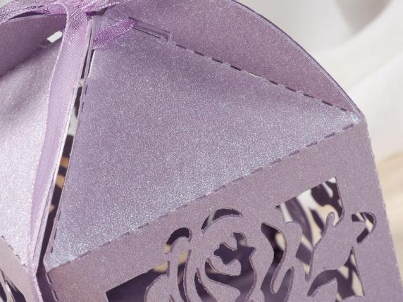 Cardboard carving rose lilac box for sugared almond.