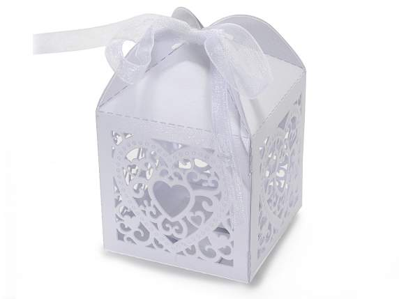 Cardboard carving heart white box sugared almond with bow.